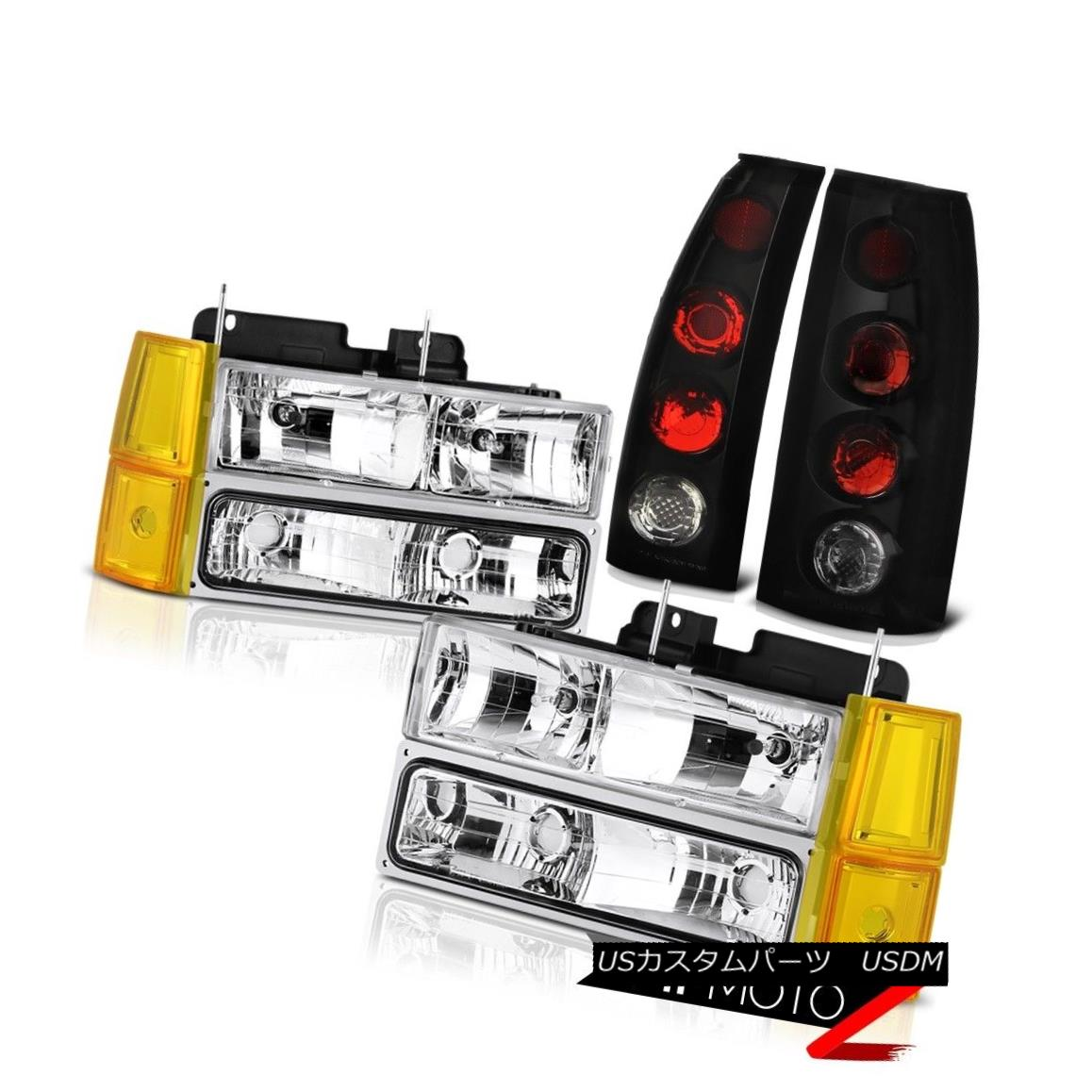 テールライト 1994-1998 GMC C3500 Euro Clear Headlamps Bumper Smoke Tinted Tail Lights Euro 1994-1998 GMC C3500ユーロクリアヘッドランプバンパースモークテールテールライトユーロ