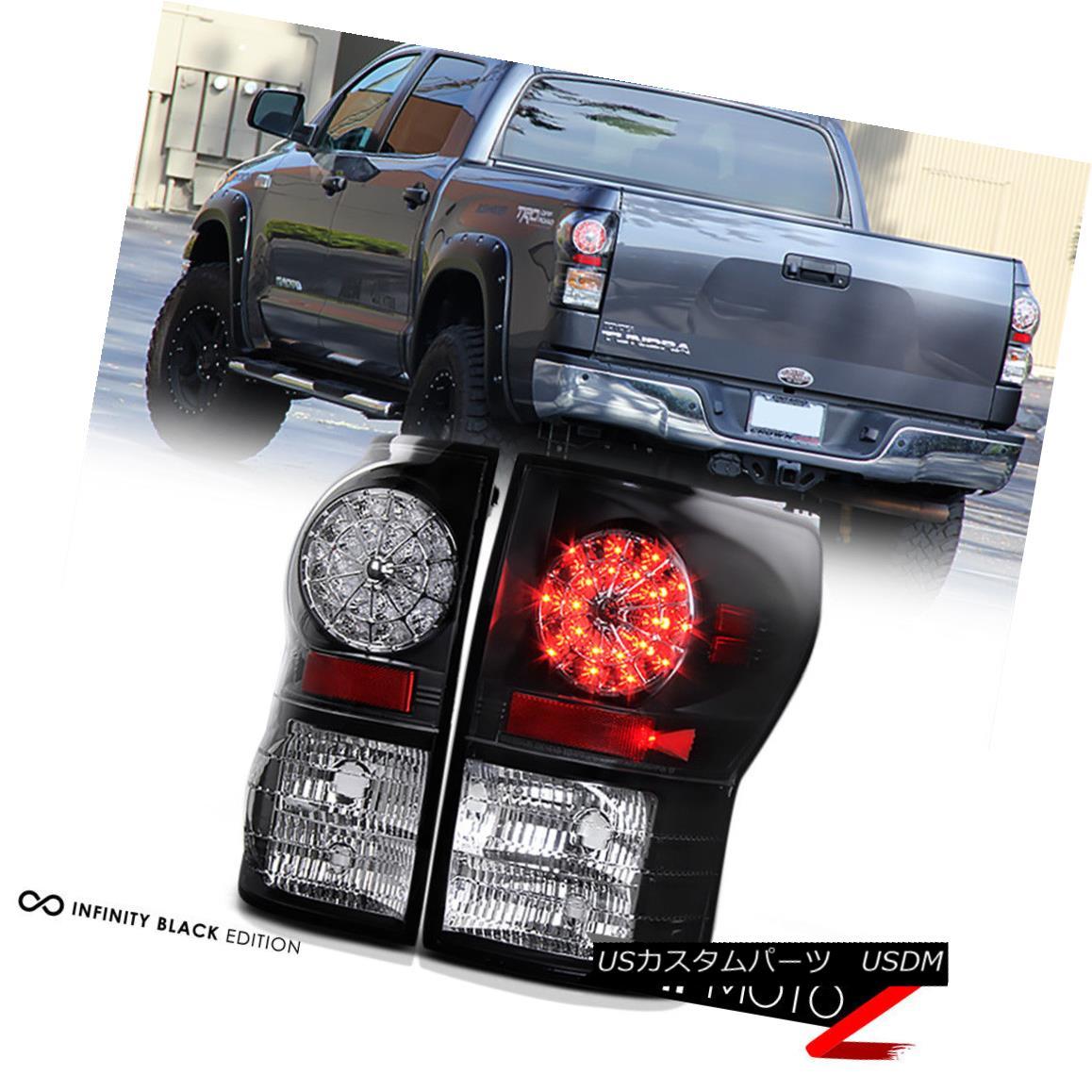 テールライト 2007-2013 Toyota Tundra [SUPERFLUX II SMD] Black LED Tail Light Brake Lamp PAIR 2007-2013トヨタトンドラ[SUPERFLUX II SMD]ブラックLEDテールライトブレーキランプペア