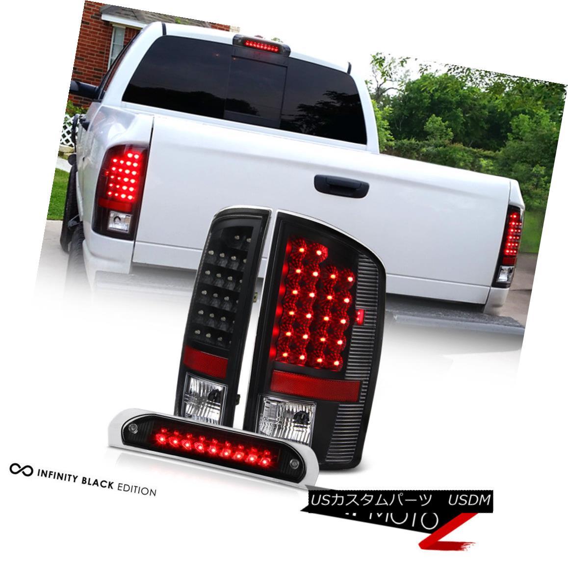 テールライト 02-06 Dodge Ram 1500 2500 3500 Black LED Tail Signal Light+3rd Brake Cargo Lamp 02-06 Dodge Ram 1500 2500 3500ブラックLEDテールシグナルライト+第3ブレーキカーゴランプ
