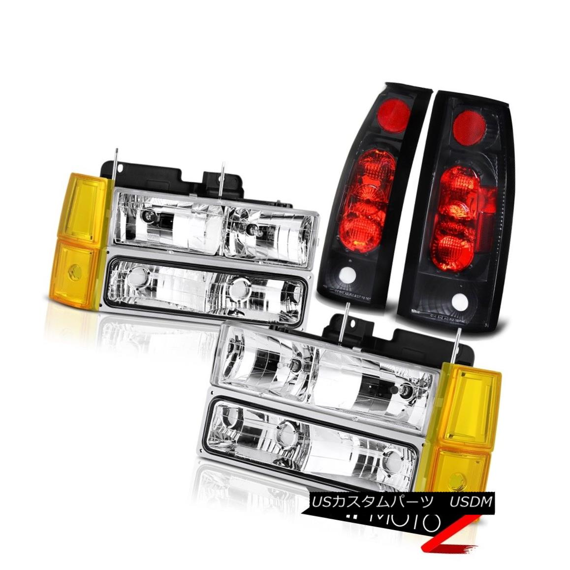 テールライト 94 95 96 97 98 GMC Sierra Clear Chrome Headlamps Bumper Taillights OE Style Euro 94 95 96 97 98 GMC SierraクリアクロームヘッドランプバンパーティールOEスタイルユーロ