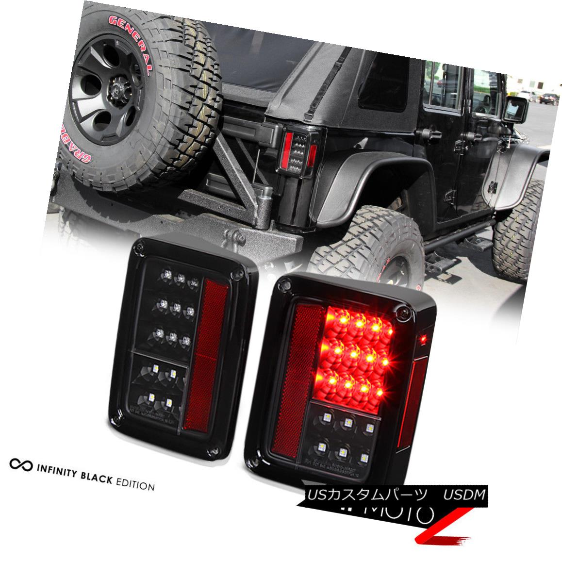 テールライト 2007-2018 Jeep Wrangler JK Black LED Rear Signal Reverse Tail Lights Brake Lamps 2007-2018 Jeep Wrangler JK Black LEDリアシグナルリバーステールライトブレーキランプ