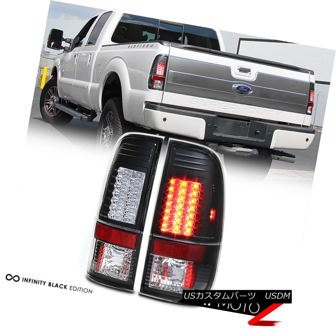 テールライト 2008-2016 Ford 250 350 450 SuperDuty *V2 LED* Black Tail Lights Rear Brake Pair 2008-2016 Ford 250 350 450 SuperDuty * V2 LED *ブラックテールライトリアブレーキペア