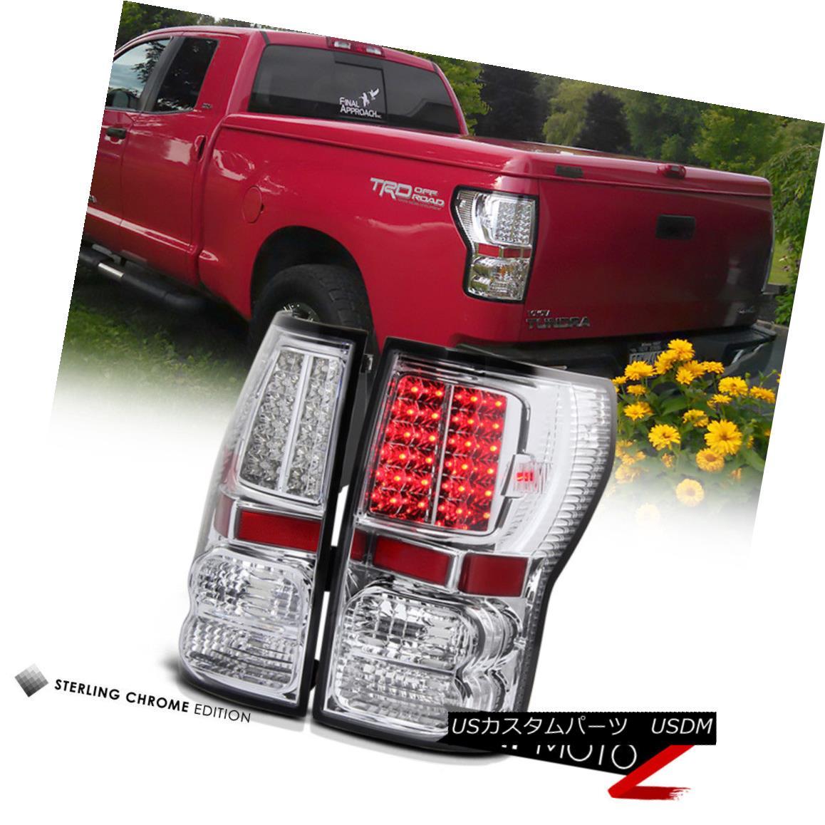テールライト Toyota Tundra Truck 2007-2013 New Chrome LED Tail Lamps Left+Right Pair Assembly トヨタツンドラトラック2007-2013新しいクロームLEDテールランプ左+右ペアアセンブリ