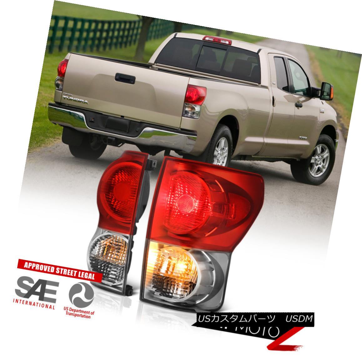 テールライト Left+Right Red Clear OE Fitment 07-13 Toyota Tundra Brake Signal Lamp Tail Light 左+右赤クリアOEフィッティング07-13トヨタトンドラブレーキ信号ランプテールライト