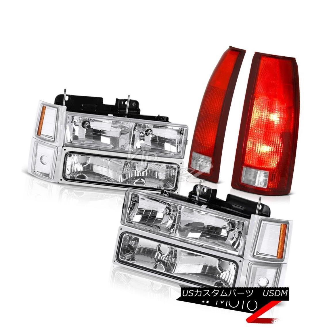 テールライト 94-98 Chevy K3500 Red Parking Brake Lights Crystal Clear 8Pcs Headlight Combo 94-98シボレーK3500レッドパーキングブレーキライトクリスタルクリア8PCSヘッドライトコンボ