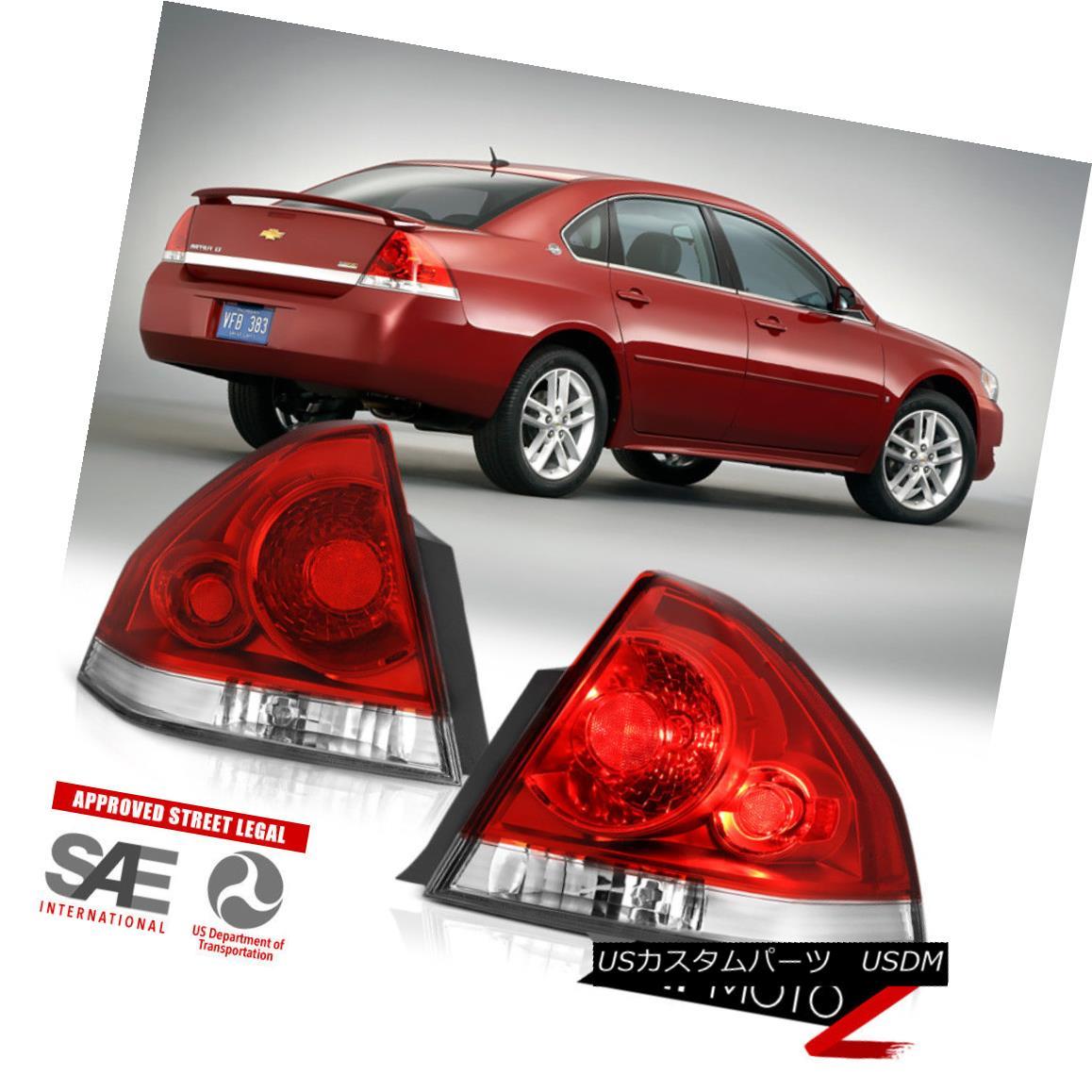 テールライト 06-13 Chevy Impala Red Clear Brake Singal Lamp Replacement Tail Light L+R Pair 06-13シボレーインパラレッドクリアブレーキシングルスランプ交換テールライトL + Rペア