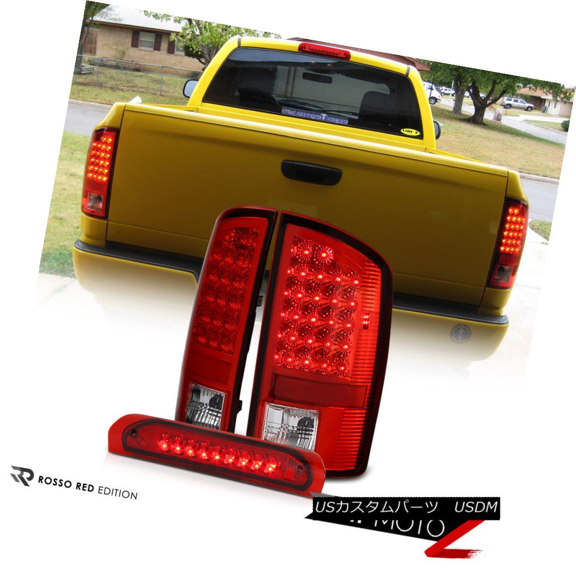 テールライト 02-06 Dodge Ram Red Full SMD LED Tail Signal Light+Center Cargo 3rd Brake Lamp 02-06ダッジラムレッドフルSMD LEDテールシグナルライト+センターカーゴ第3ブレーキランプ