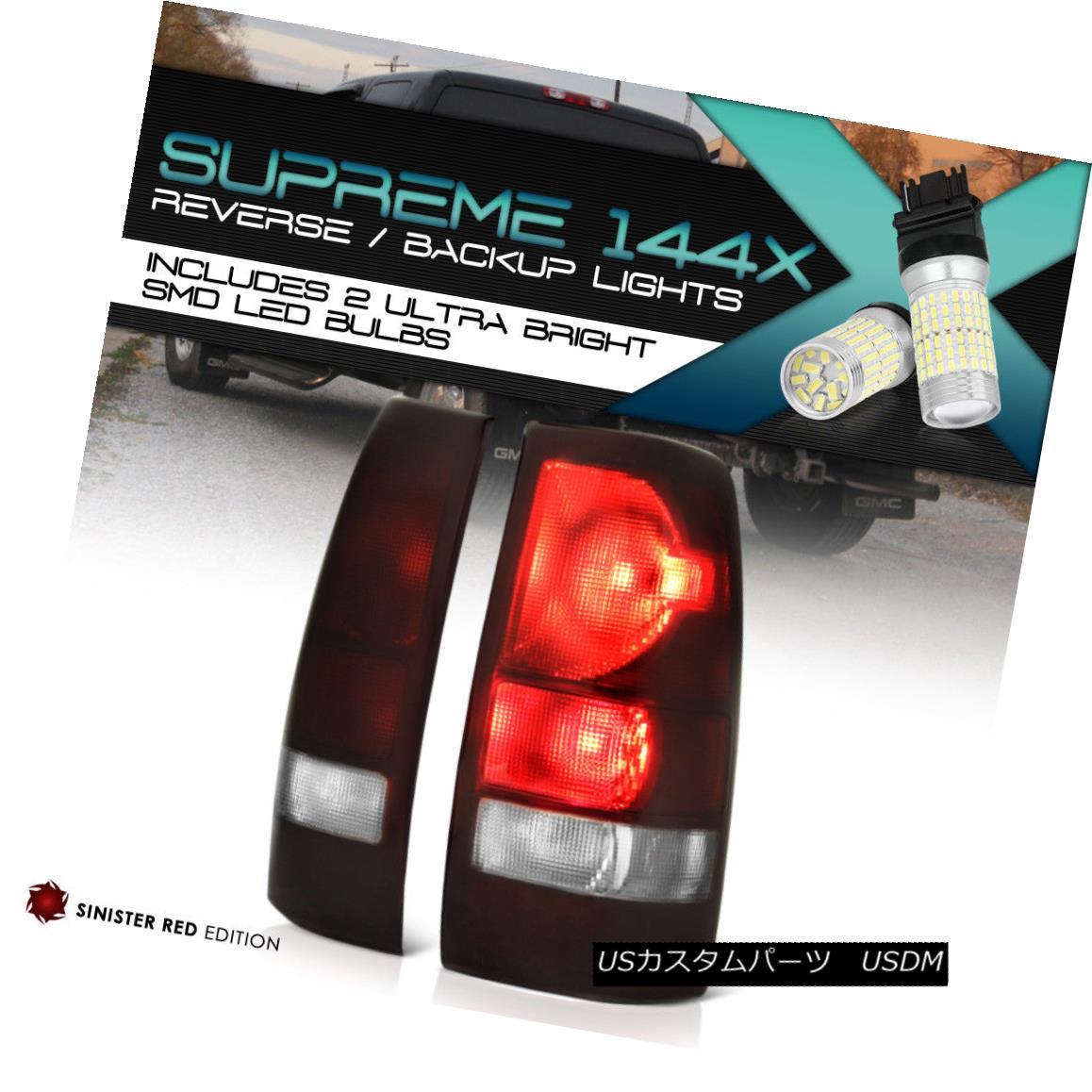 テールライト 360 DEGREE SMD BACKUP 1999-2002 Chevy Silverado 'DARK SMOKE RED' Brake Tail Lamp 360度SMDバックアップ1999-2002シボレーシルバラード「ダークソークレッド」ブレーキテールランプ