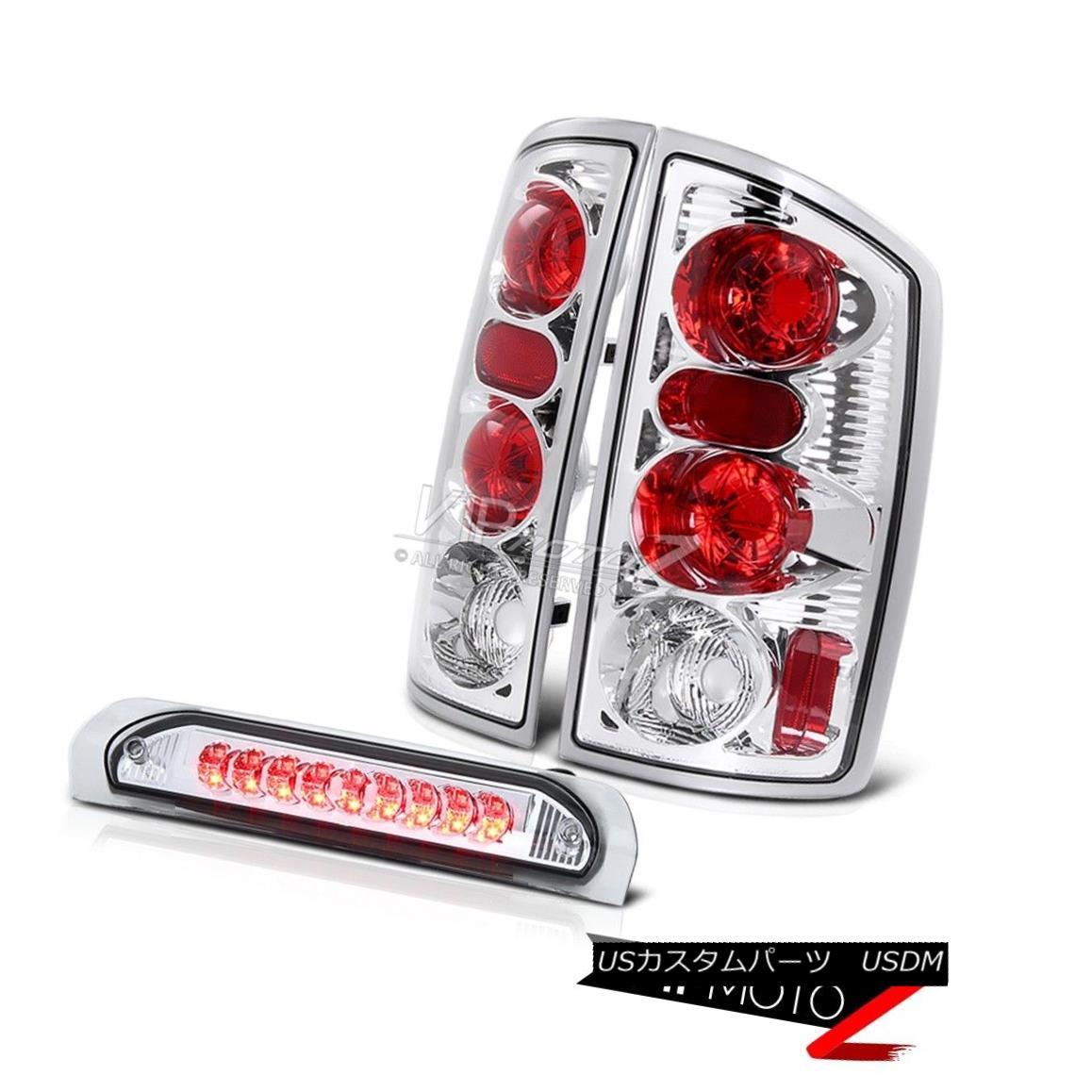 テールライト 02-05 Dodge Ram 1500 Crystal Clear Tail Light+Chrome Led 3rd Brake Lamp Assembly 02-05 Dodge Ram 1500クリスタルクリアテールライト+クロームLed 3rdブレーキランプアセンブリ