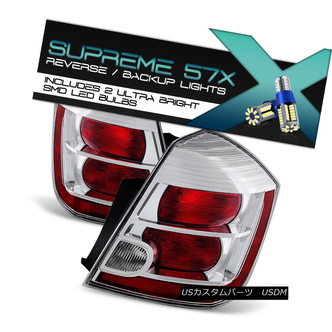 テールライト [Full SMD Reverse] For 10-12 Nissan Sentra Red Chrome Tail Lights Brake Assembly [フルSMDリバース] 10-12日産センチュラレッドクロームテールライトブレーキアセンブリ