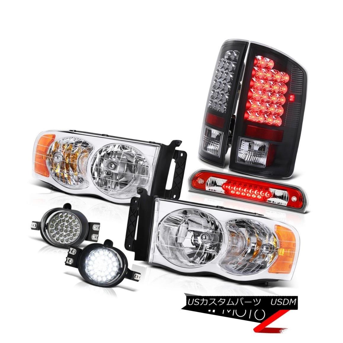 テールライト 2002-2005 Ram V8 Pair Chrome Headlights Black LED Taillights Trim Fog High Brake 2002-2005 Ram V8ペアクロームヘッドライトブラックLEDテールライトトリムフォグハイブレーキ