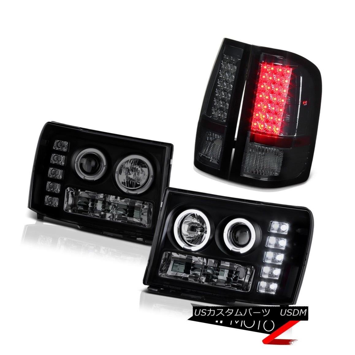 テールライト 08-14 GMC Sierra 3500 WT Darkest Black Halo LED Headlight Signal Brake Tail Lamp 08-14 GMC Sierra 3500 WT最暗ブラックハローLEDヘッドライト信号ブレーキテールランプ