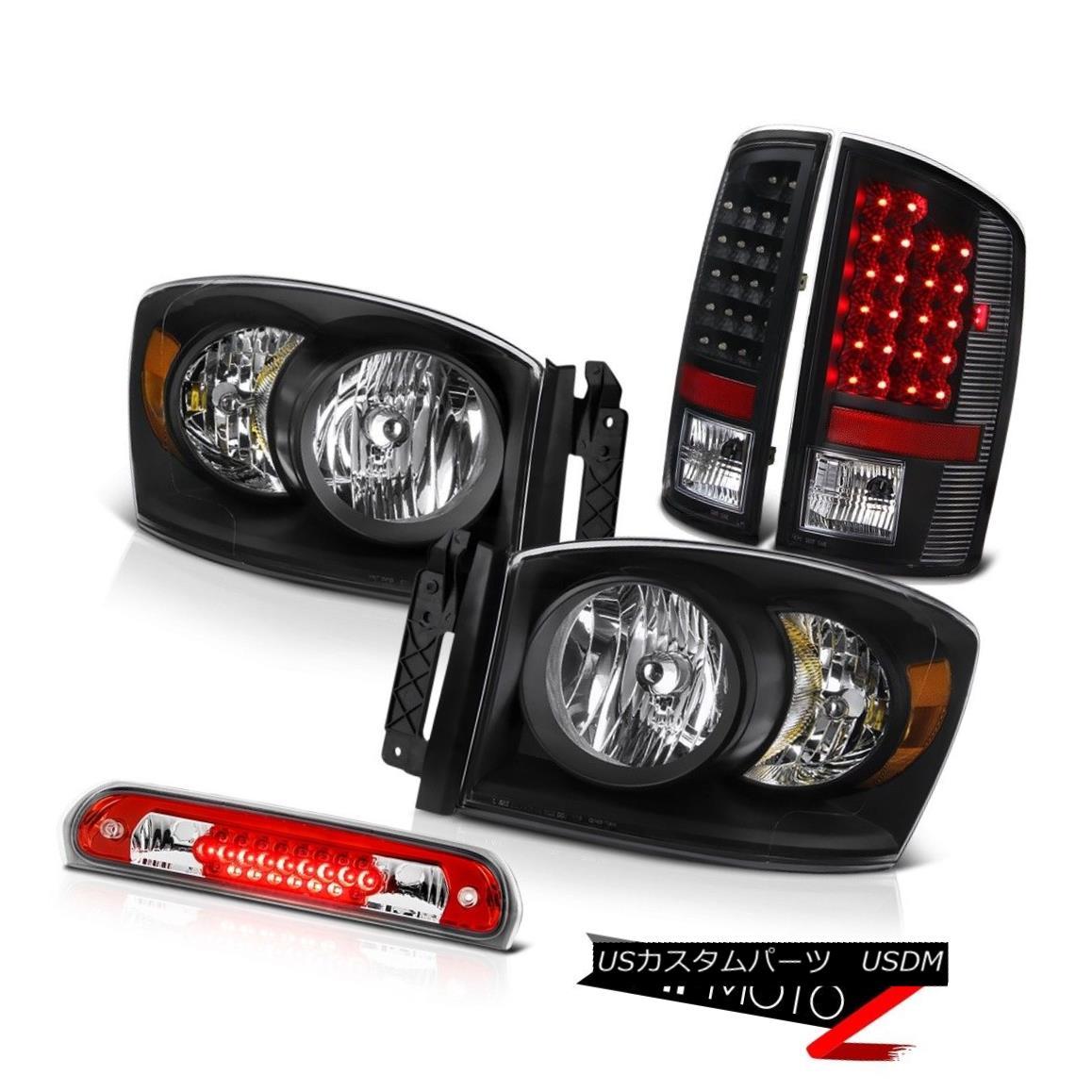 テールライト 2006 Dodge Ram ST L+R Crystal Black Headlights SMD Tail Lights 3rd Brake Red LED 2006 Dodge Ram ST L + RクリスタルブラックヘッドライトSMDテールライト第3ブレーキ赤色LED