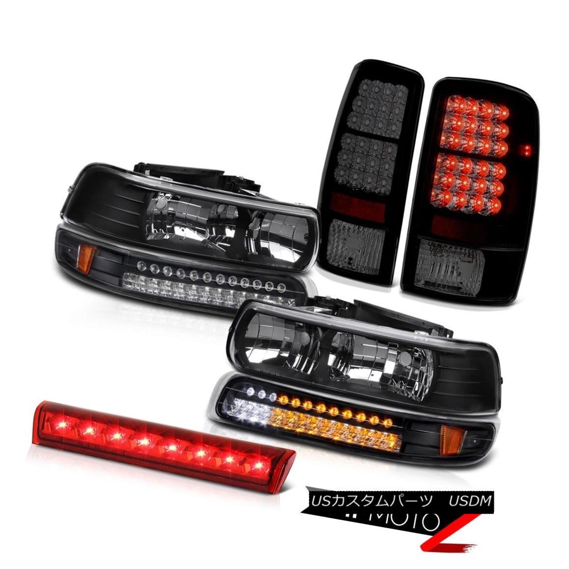 テールライト Pair Black Headlights LED Bumper Brake Tail Lights Roof 2000-2006 Chevy Suburban ペアブラックヘッドライトLEDバンパーブレーキテールライトルーフ2000-2006シボレー郊外