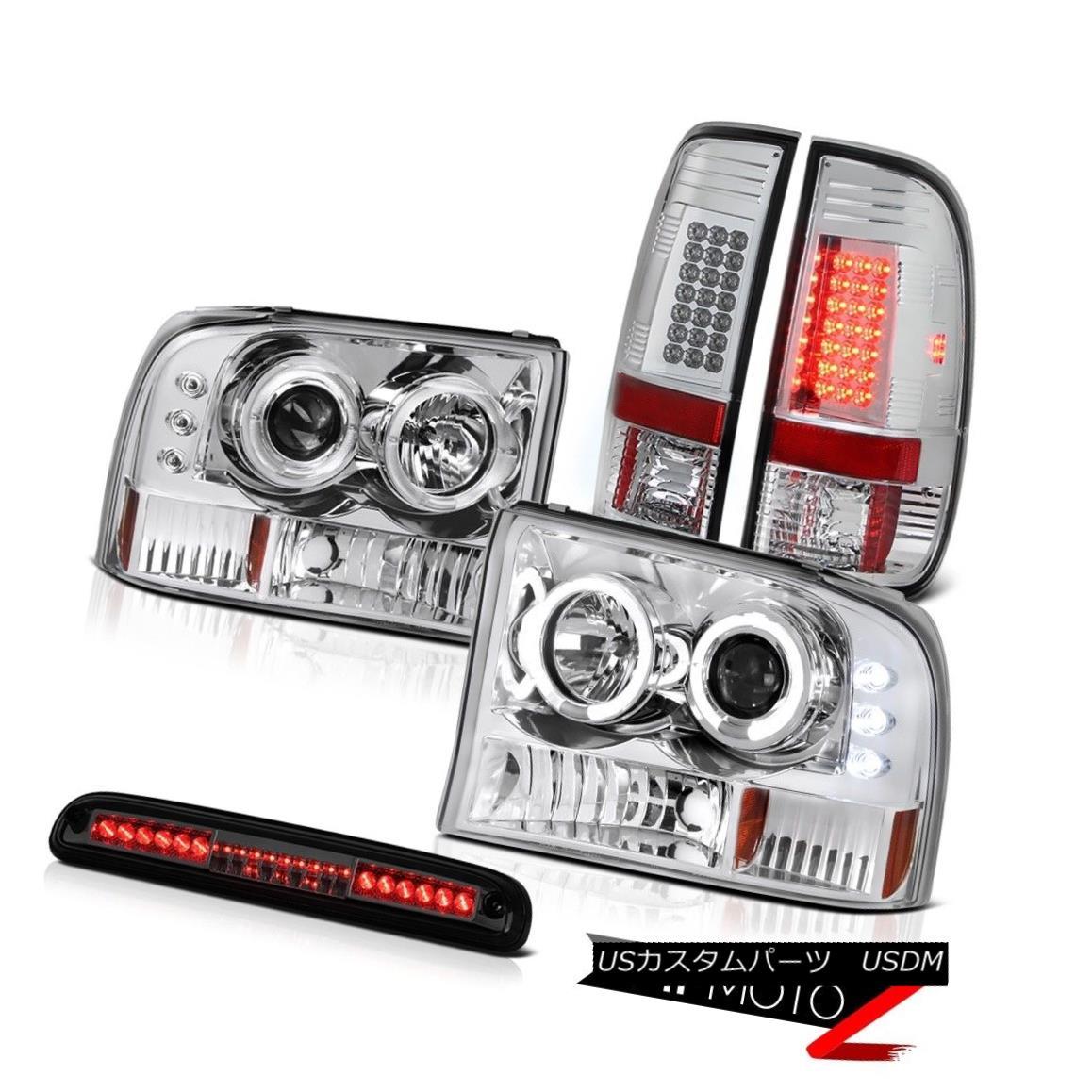 テールライト 99-04 F250 Harley Davidson Chrome Halo LED Headlights Bulb Tail Roof Stop Tinted 99-04 F250ハーレーダビッドソンクロームハローLEDヘッドライトバルブテールルーフストーンティント
