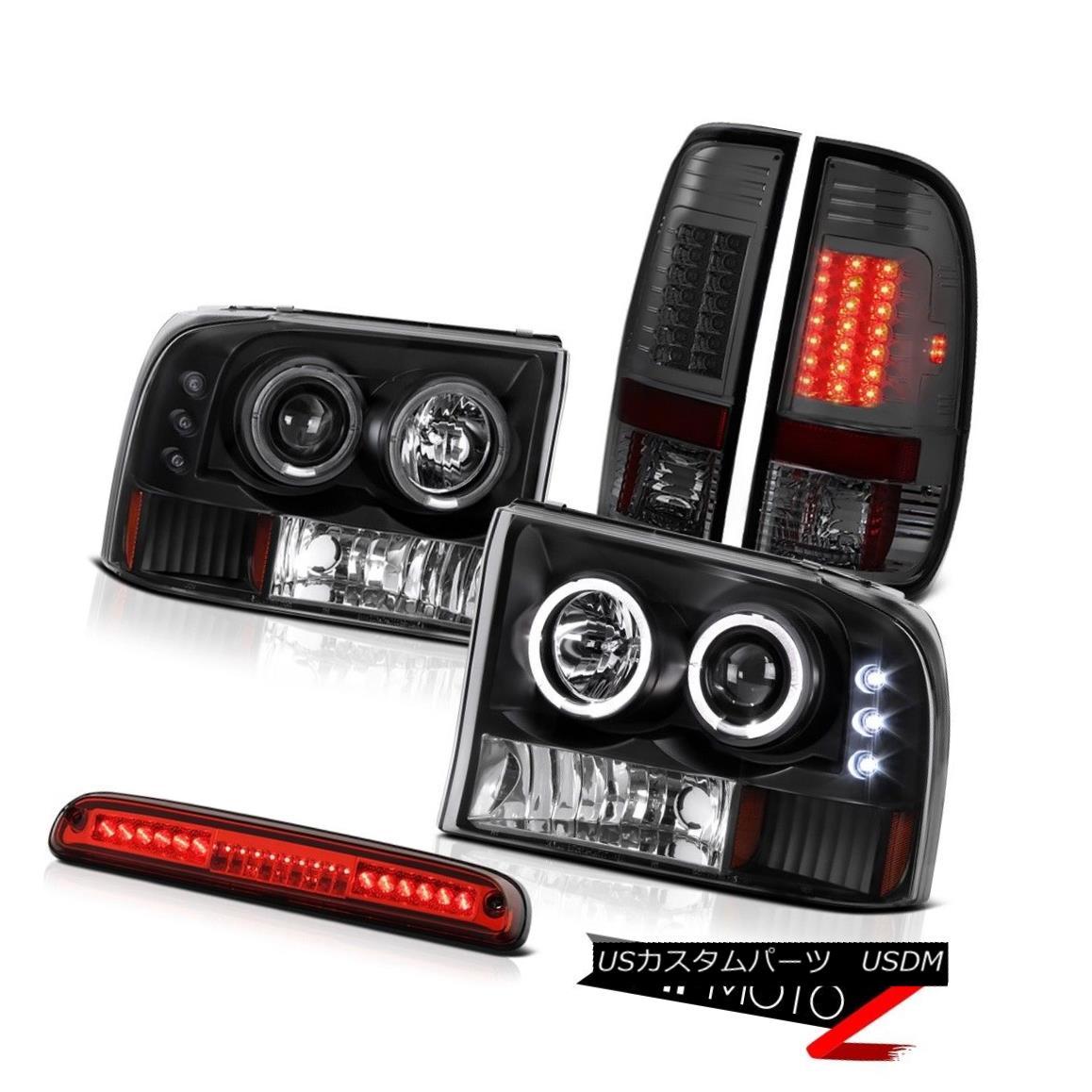 テールライト 1999-2004 F250 Turbo Diesel DRL LED Halo Headlights Brake Lights High Stop Red 1999-2004 F250ターボディーゼルDRL LEDハローヘッドライトブレーキライトハイストップレッド