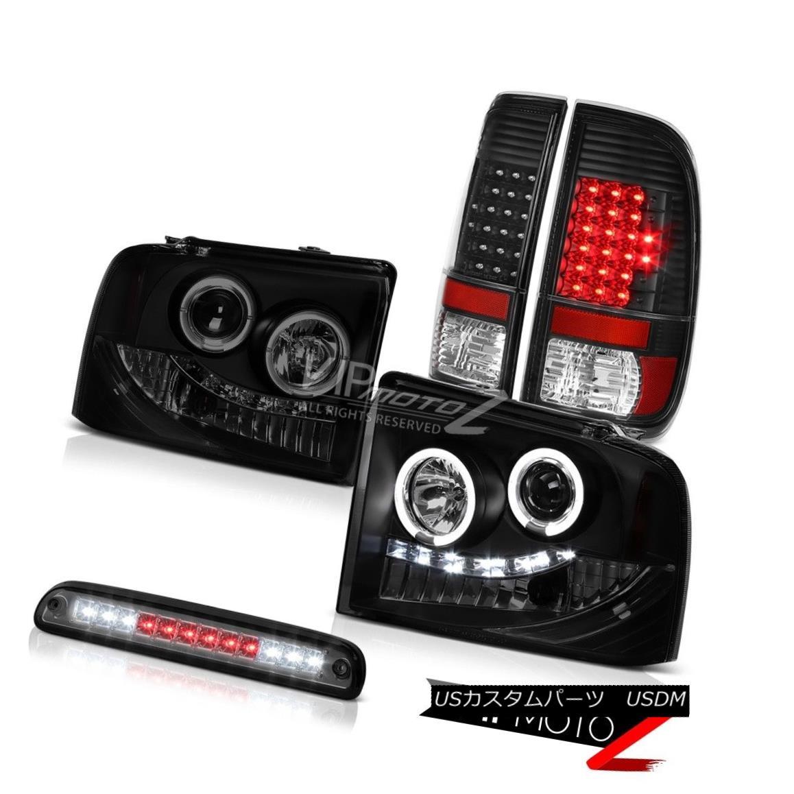 テールライト 2005 2006 2007 F250 FX4 Smoke Halo LED Headlights Black Taillights High Cargo 2005年2006年2007年F250 FX4スモークハローLEDヘッドライトブラックテールライトハイカーゴー