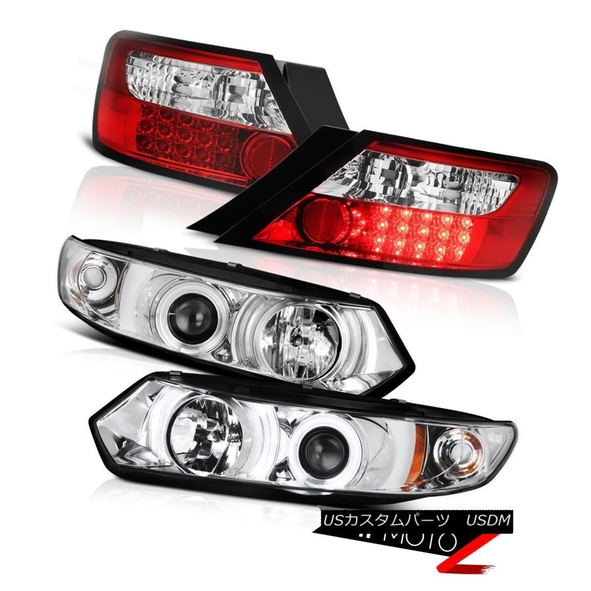 テールライト 06-11 Honda Civic Coupe LX Devil's CCFL Halo Rim Headlights Red LED Tail Lights 06-11ホンダシビッククーペLXデビルのCCFLハローリムヘッドライトレッドLEDテールライト