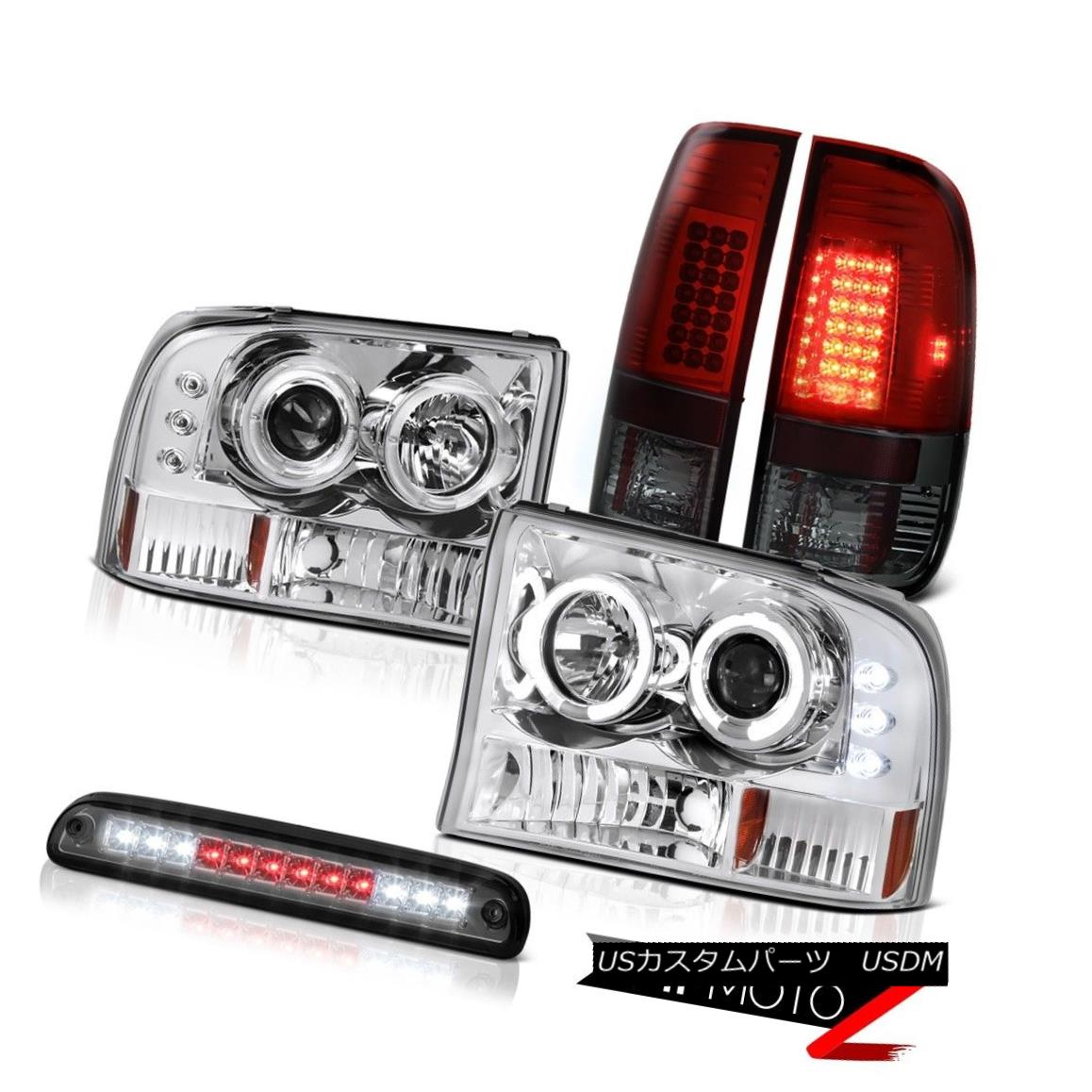テールライト DRL Halo Headlights High Stop LED Smoke TailLightBurgundy 99-04 Ford F350 SD DRLハローヘッドライトハイストップLEDスモークTailLightBurgu ndy 99-04 Ford F350 SD