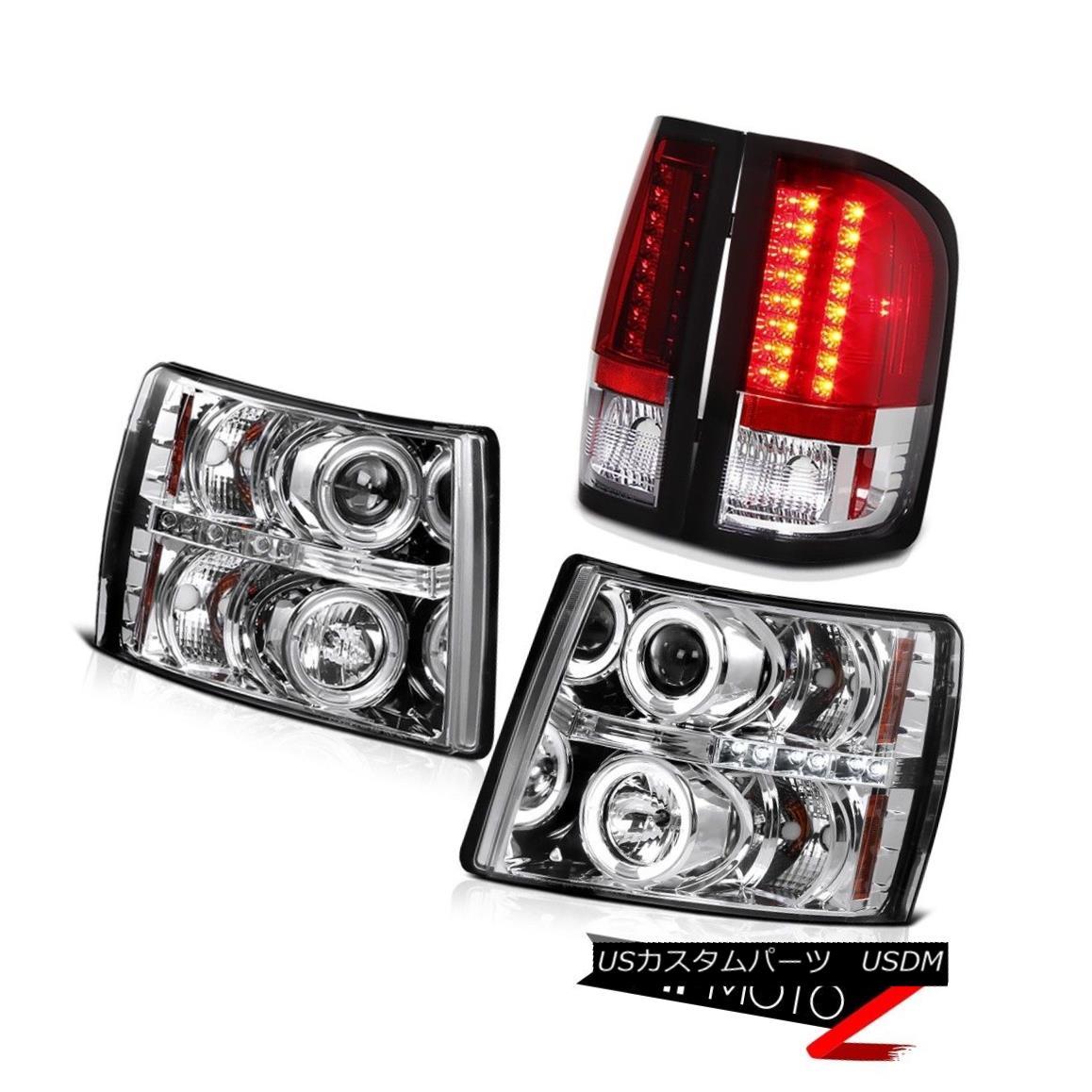 テールライト 4PC FRONT+REAR 07-14 Silverado 1500|2500HD|3500HD Halo LED Headlight Tail Lamps 4PC FRONT + REAR 07-14 Silverado 1500 | 2500HD | 35 00HD Halo LEDヘッドライトテールランプ