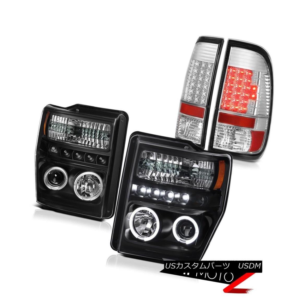 テールライト 2008-2010 F250 F350 HALO+DRL Projector Headlights Chrome LED Tail Lights Lamps 2008-2010 F250 F350ハロー+ DRLプロジェクターヘッドライトクロームLEDテールライトランプ