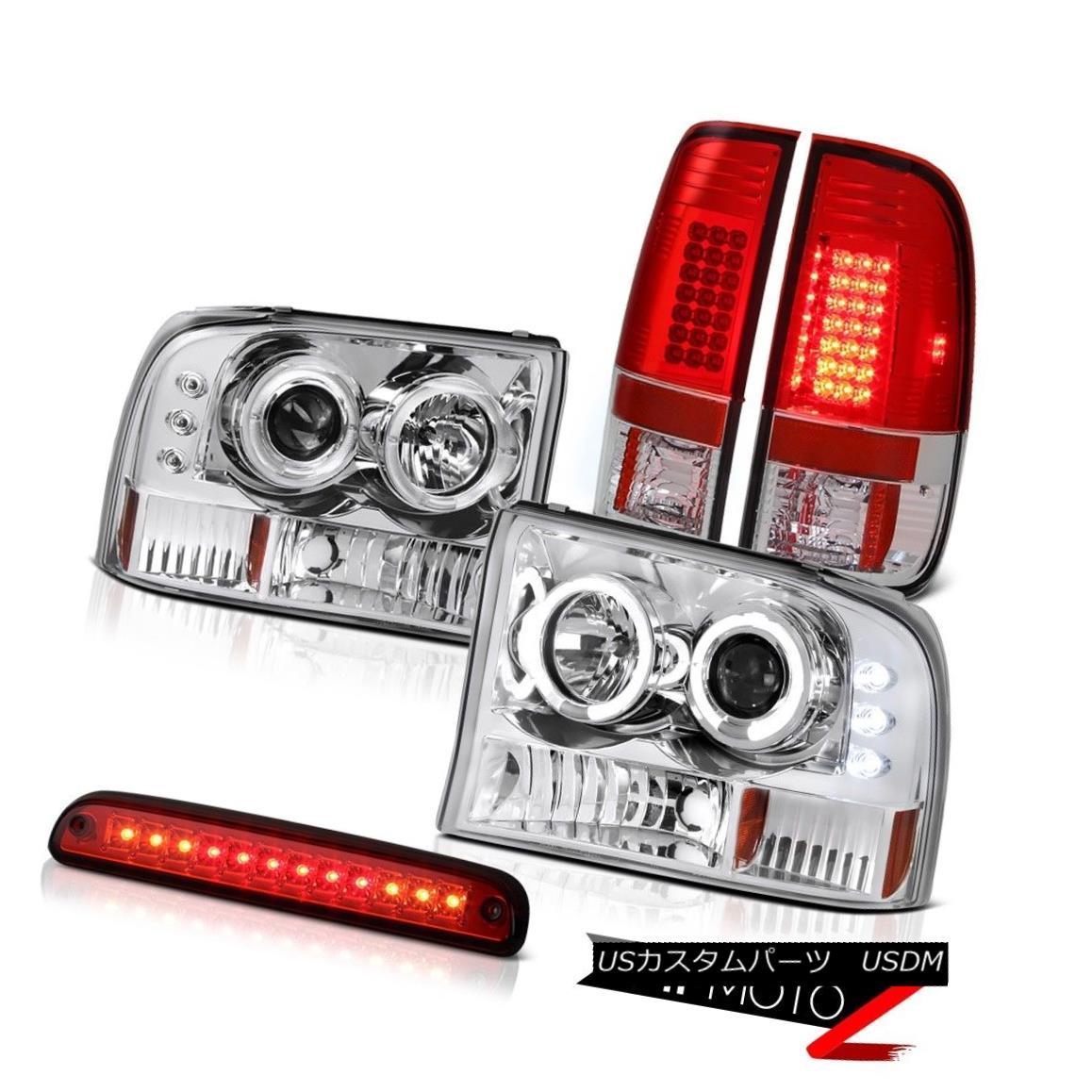 テールライト Halo LED Chrome Headlamps Third Brake Red Tail Light Assembly 99-04 F250 XLT Halo LEDクロームヘッドランプ第3ブレーキ赤テールライトアセンブリ99-04 F250 XLT