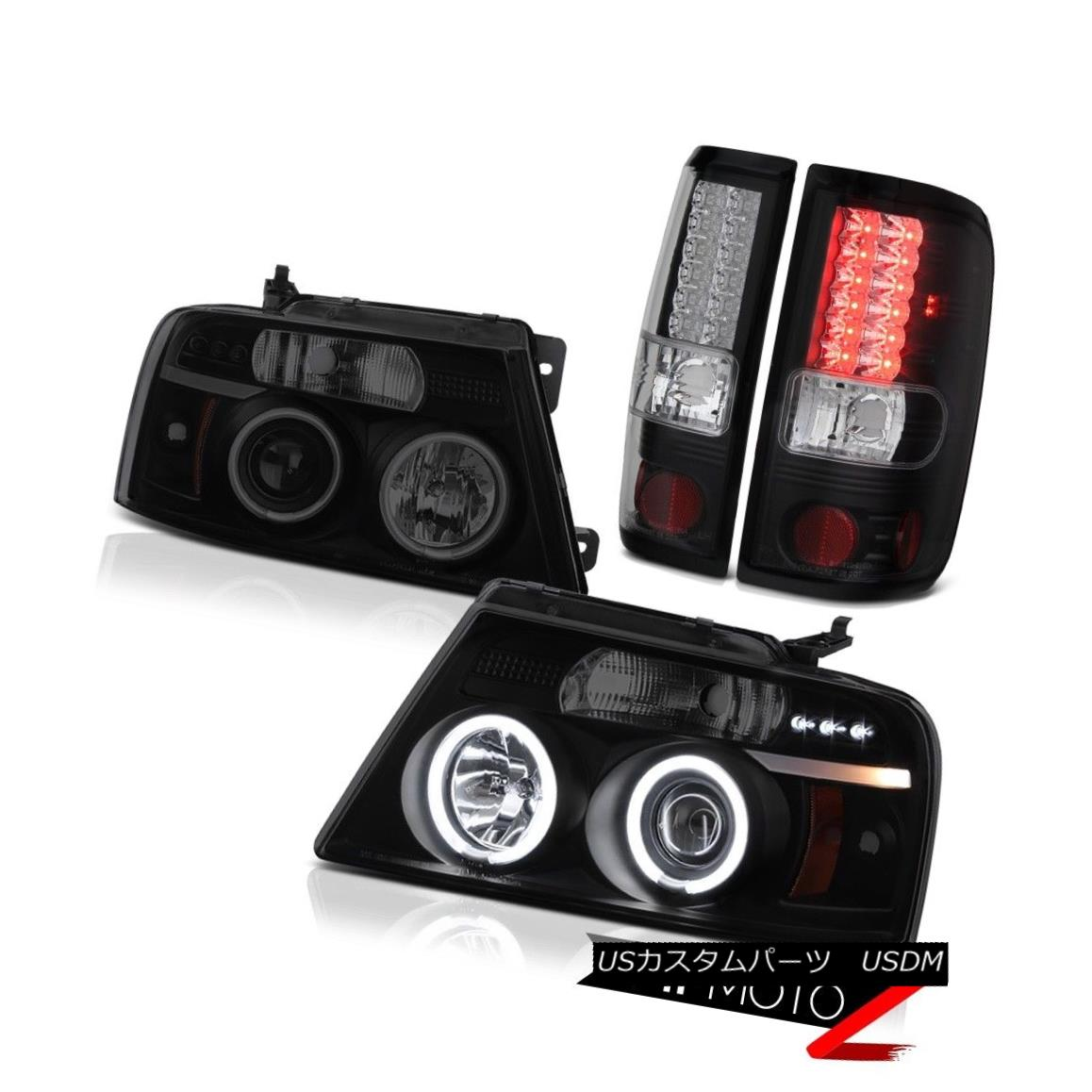 テールライト SINISTER BLACK 2004-2008 Ford F150 Smoke CCFL Angel Eye Headlights LED Taillight SINISTER BLACK 2004-2008 Ford F150 Smoke CCFLエンジェルアイヘッドライトLEDテールライト