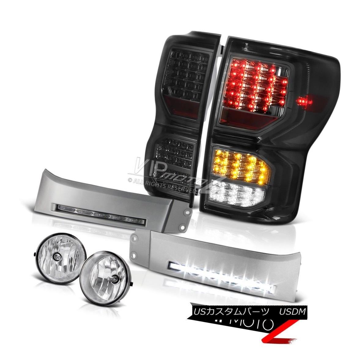 テールライト 2007-2013 Toyota Tundra SR5 Smoked Rear Brake Lights Silver Bumper DRL Fog Lamps 2007-2013トヨタトンドラSR5スモークリアブレーキライトシルバーバンパーDRLフォグランプ