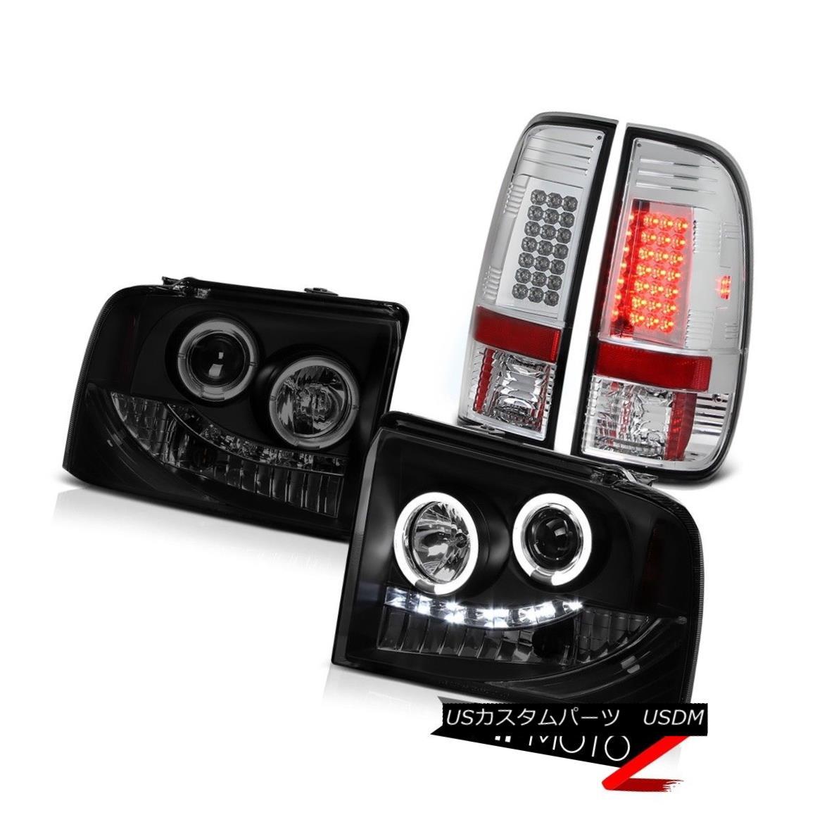 テールライト 2005 2006 2007 Ford F350 SuperDuty Lariat Headlights Halo LED Bright Tail Lights 2005年2006年2007年Ford F350 SuperDutyラリアートヘッドライトHalo LEDブライトテールライト