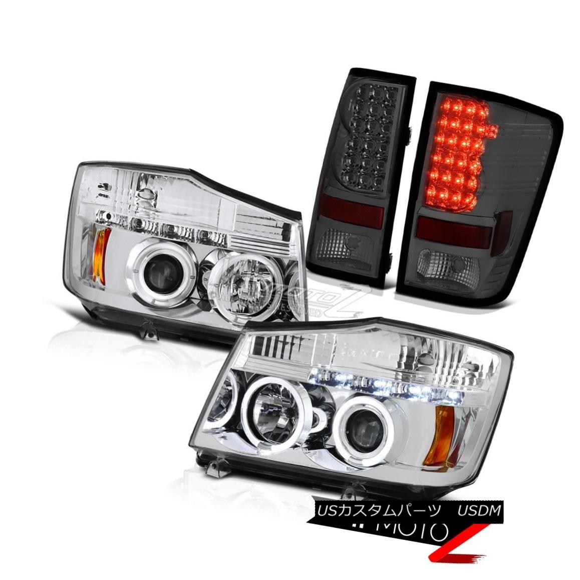 テールライト For 04-15 Titan SL Crystal Halo LED Headlight Smoke Rear Signal LED Tail Light 04 - 15タイタンSLクリスタルハローLEDヘッドライトスモークリアシグナルLEDテールライト