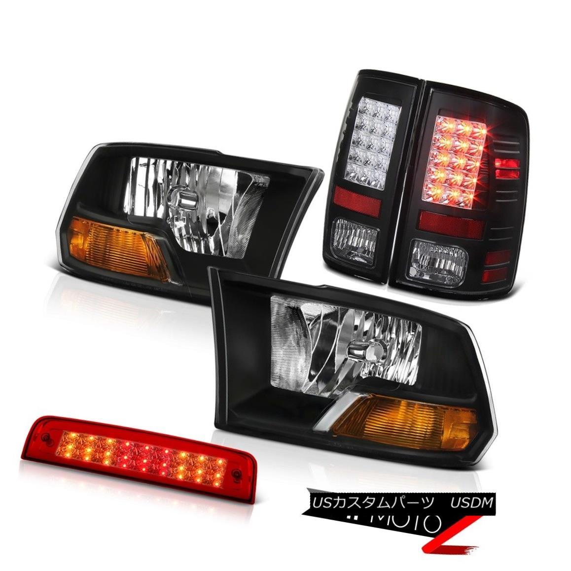 テールライト 09-18 Ram 1500 5.7L Wine Red High Stop Light Taillamps Headlights Replacement 09-18ラム1500 5.7Lワインレッドハイストップライトトライアングルヘッドライト交換