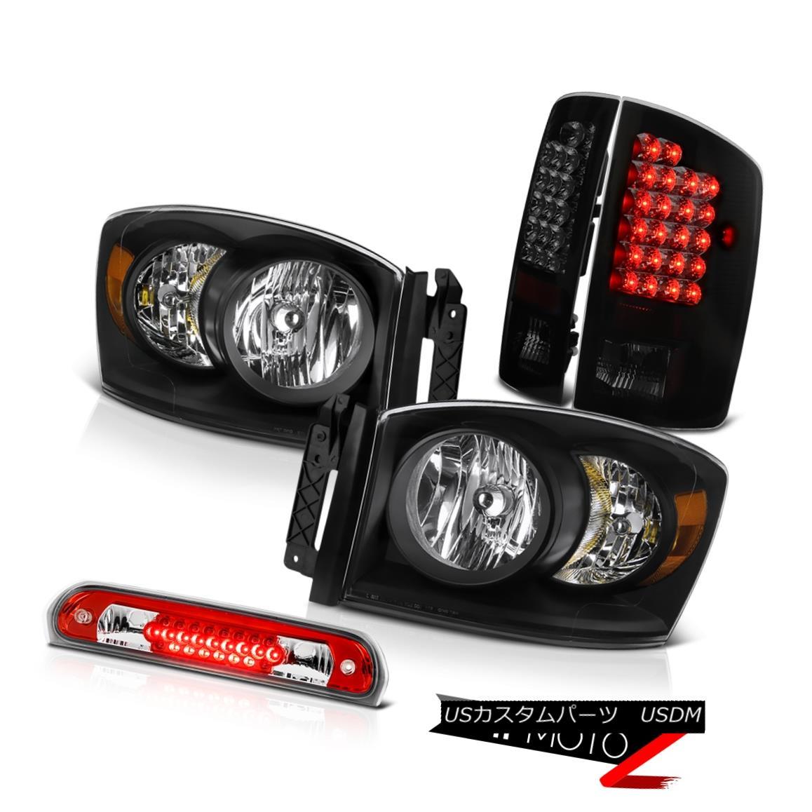テールライト Black Headlights Smoke Tinted LED Tail Lights Third Brake Cargo 2007-2008 Ram V8 ブラックヘッドライト煙がかかったLEDテールライト第3ブレーキ貨物2007-2008 Ram V8