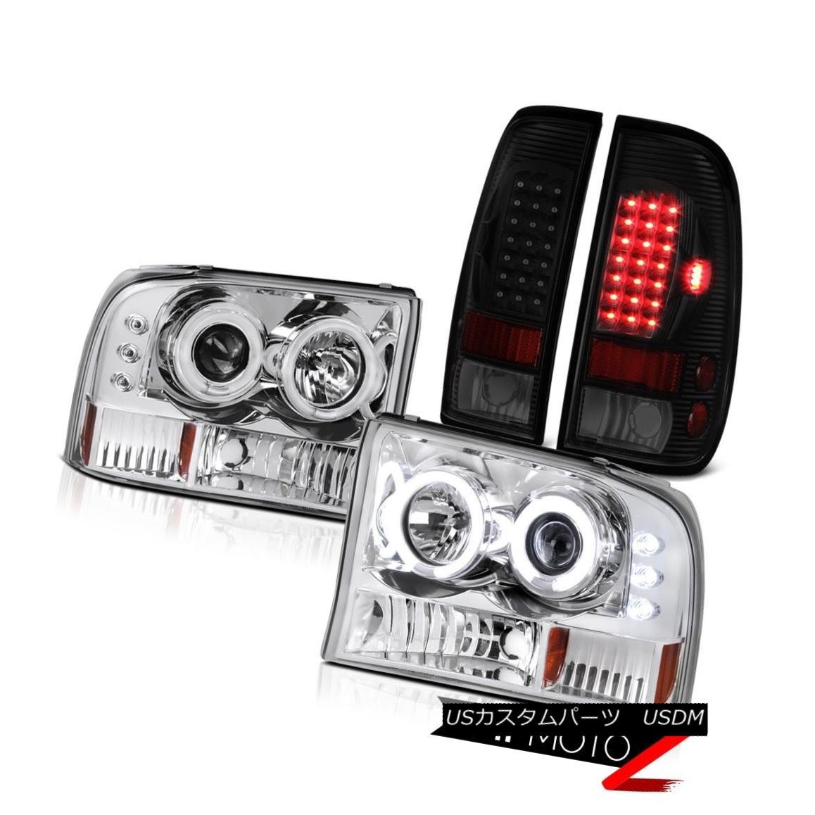 テールライト 99-04 F350 Turobdiesel Darkest Smoke Tail Lamps Sterling Chrome Headlights LED 99-04 F350ターボディーゼル暗い煙テールランプスターリングクロームヘッドライトLED