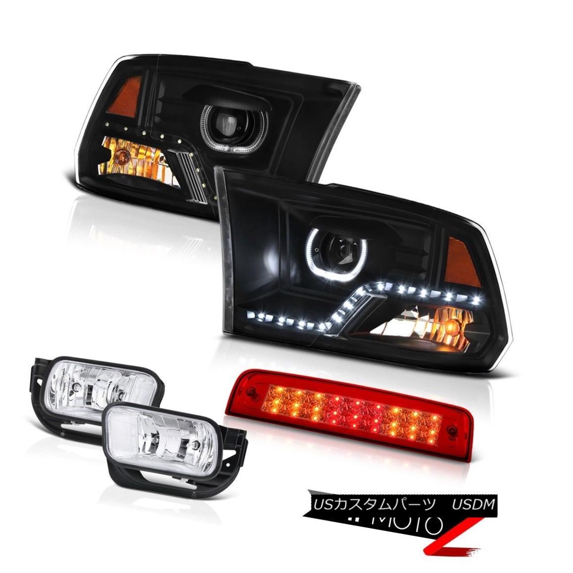 テールライト 2009-2013 Dodge RAM 1500 2500 Inky Black Headlamp 3rd Brake Light Fog Lights SET 2009-2013 Dodge RAM 1500 2500 Inky Blackヘッドランプ第3ブレーキライトフォグライトSET