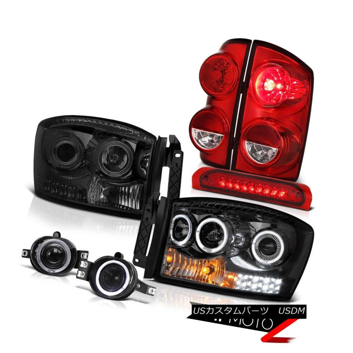 テールライト 2007-2009 Dodge Ram 3500 WS Tail Brake Lights Headlamps Fog Roof Light Halo Rim 2007-2009 Dodge Ram 3500 WSテールブレーキライトヘッドランプフォグルーフライトHalo Rim