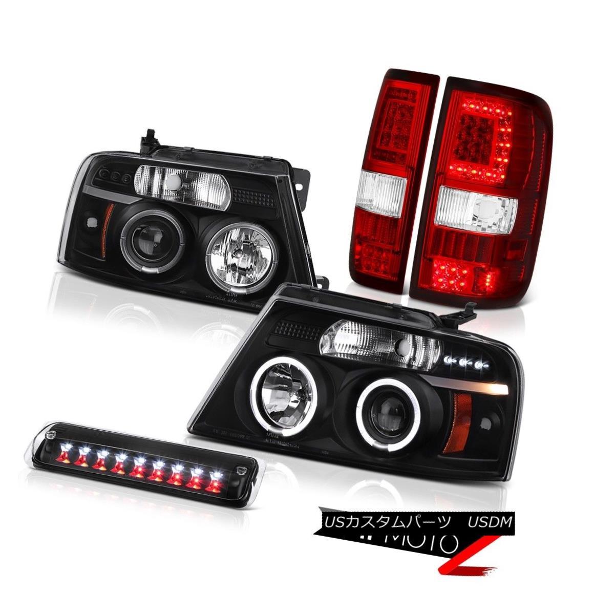 テールライト 04 05-07 08 Ford F150 Led Bar Tail Lamp Inky Black 3Rd Brake Head Pair L+R LH+RH 04 05-07 08フォードF150リードバーテールランプインキブラック3RdブレーキヘッドペアL + R LH + RH