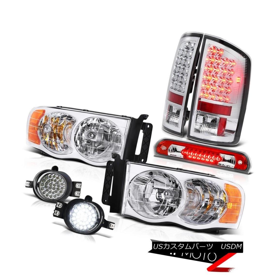 テールライト 02-05 Ram 3500 Chrome Headlamps LED Tail Lights D.R.L Fog Roof Brake Red LEDs 02-05 Ram 3500クロームヘッドランプLEDテールライトD.R.Lフォグルーフブレーキ赤色LED