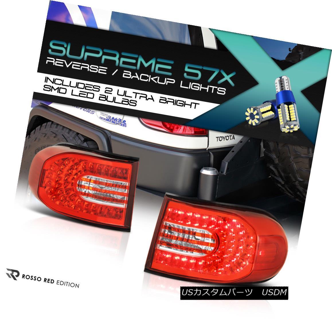 テールライト !Full SMD Backup! 07-2015 Toyota FJ-Cruiser Red/Clear LED Tail Lamps Replacement !フルSMDバックアップ! 07-2015トヨタFJクルーザーレッド/クリアLEDテールランプの交換