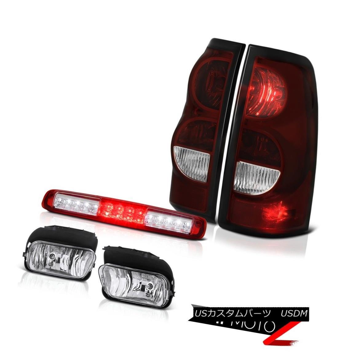 テールライト 2003-2006 Silverado 2500Hd Roof Brake Light Fog Lamps Smoked Red Taillights LED 2003-2006シルバラード2500HdルーフブレーキライトフォグランプスモークレッドティアライトLED