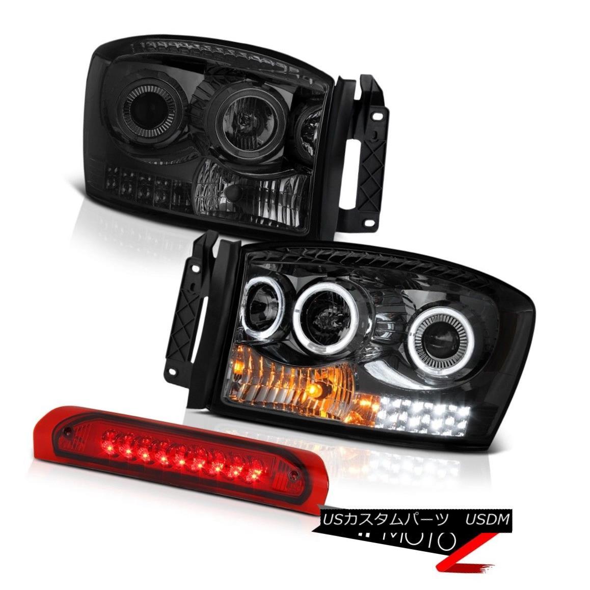 テールライト 06-08 Ram 1500 2500 3500 6.7L Headlamps Wine Red Roof Cargo Light LED Dual Halo 06-08ラム1500 2500 3500 6.7LヘッドランプワインレッドルーフカーゴライトLEDデュアルヘイロー