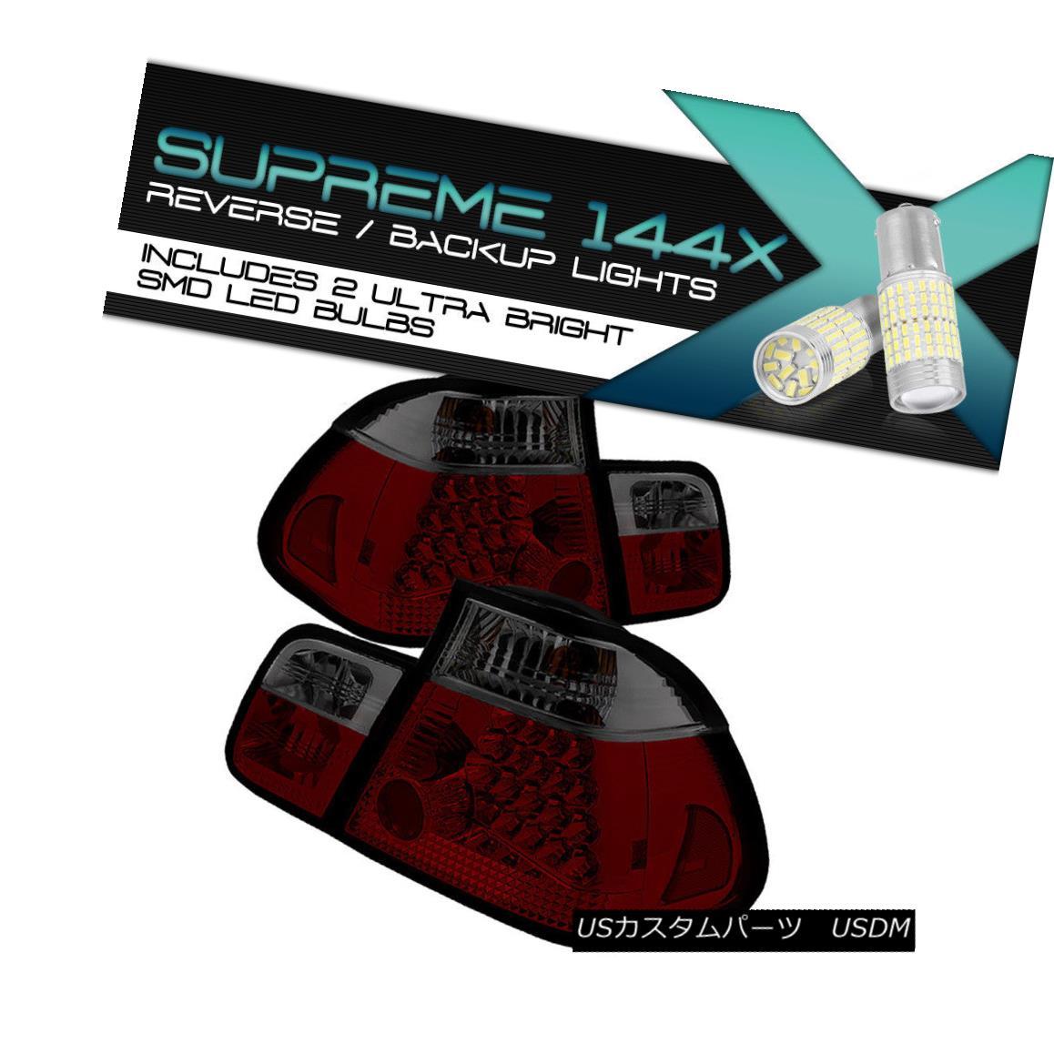 テールライト !360 DEGREE SMD BACKUP! BMW E46 3-Series 2002-2005 4DR RED SMOKE Tail Light LED 360°SMDバックアップ! BMW E46 3シリーズ2002-2005 4DR RED SMOKEテールライトLED