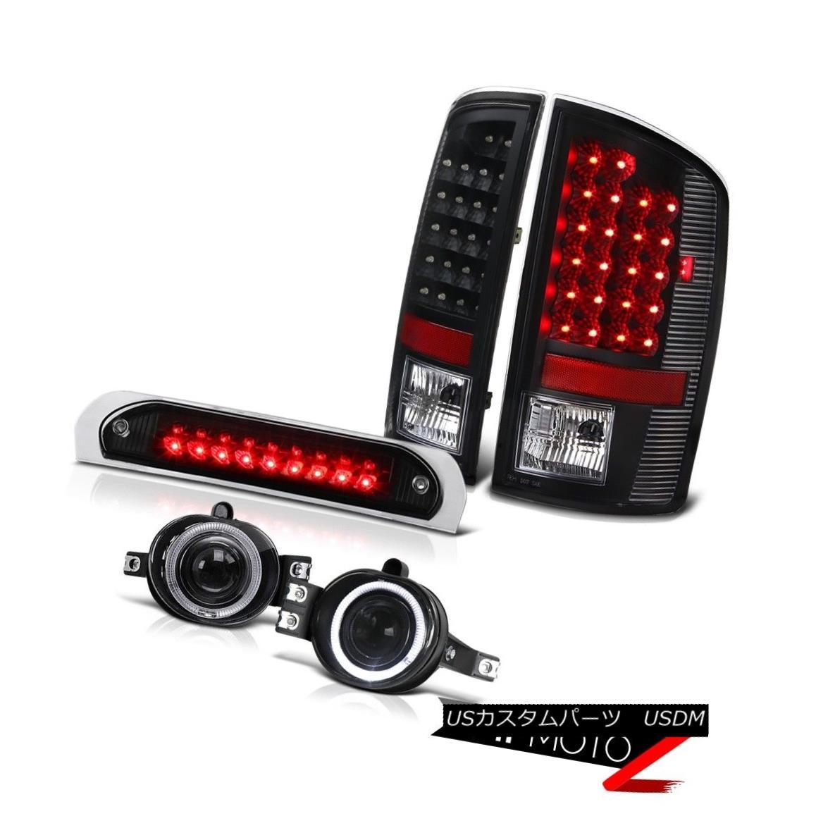 テールライト Bright LED Tail Lights Projector Foglamps Black 3rd Brake 2002-2005 Dodge Ram 明るいLEDテールライトプロジェクターフォグランプブラック第3ブレーキ2002-2005 Dodge Ram
