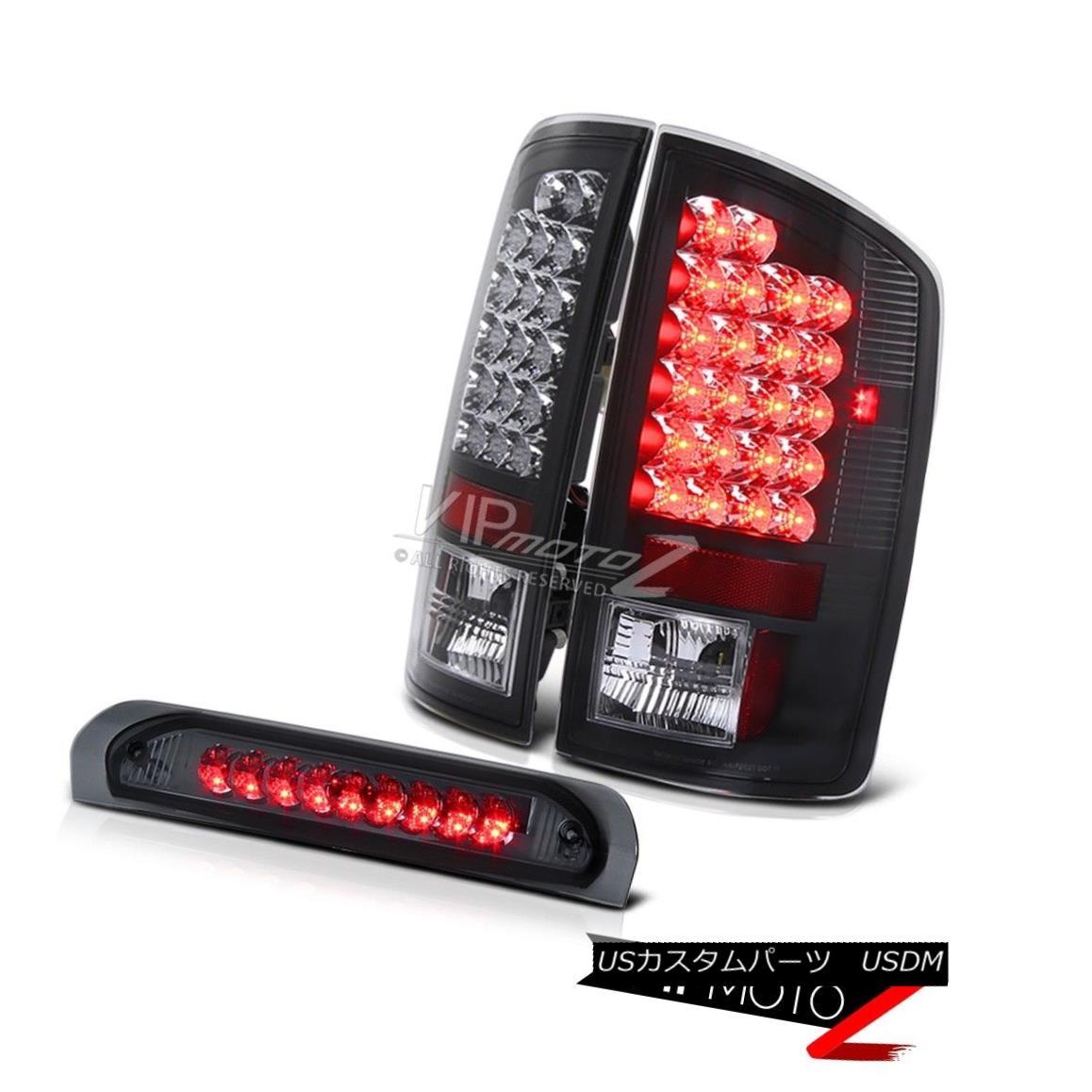 テールライト 02-05 Dodge Ram 1500/2500/3500 L+R Black Led Tail Light+Smoke Led 3rd Brake Lamp 02-05ダッジラム1500/2500/3500 L + RブラックLedテールライト+ Smoke Led第3ブレーキランプ