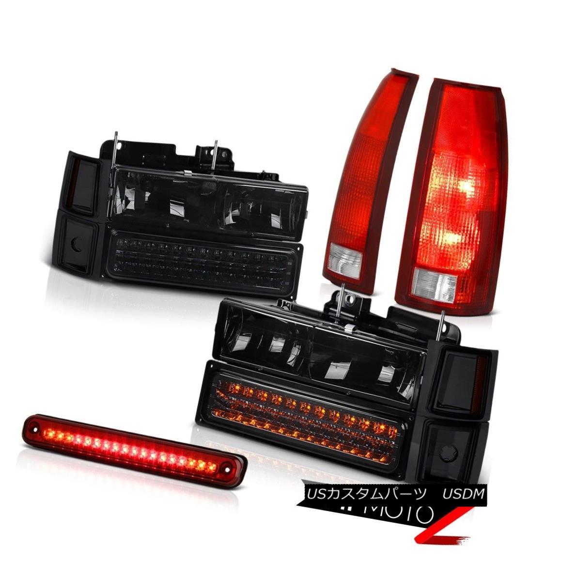 1994-1998シボレーC3500第3ブレーキライトテールランプスモーキー8個ヘッドライトコンボ 1994-1998 Third Brake 8Pcs Headlight Combo Lamps テールライト Light Tail Smokey C3500 Chevy