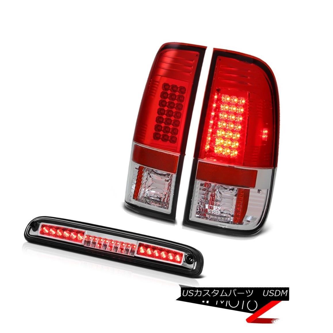 テールライト 2008-2010 Ford F-250 SuperDuty LH+RH Red Clear LED Tail Brake Lights Euro Roof 2008-2010フォードF-250 SuperDuty LH + RHレッドクリアLEDテールブレーキライトユーロルーフ