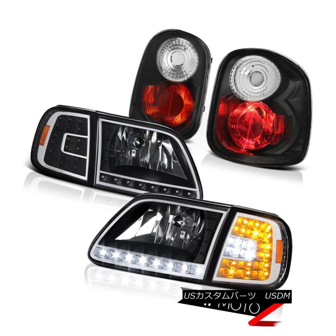 テールライト DRL Corner+Headlamps Black Tail Lamps LH+RH 2001-2003 Ford F150 Flareside 5.4L DRLコーナー+ヘッドラム psブラックテールランプLH + RH 2001-2003フォードF150フラレイド5.4L