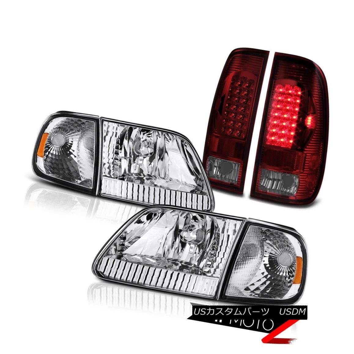 テールライト 97 98 99 00 01 02 03 F150 XLT Clear Signal Headlights Red Smoke LED Tail Lights 97 98 99 00 01 02 03 F150 XLTクリア信号ヘッドライト赤色スモークLEDテールライト