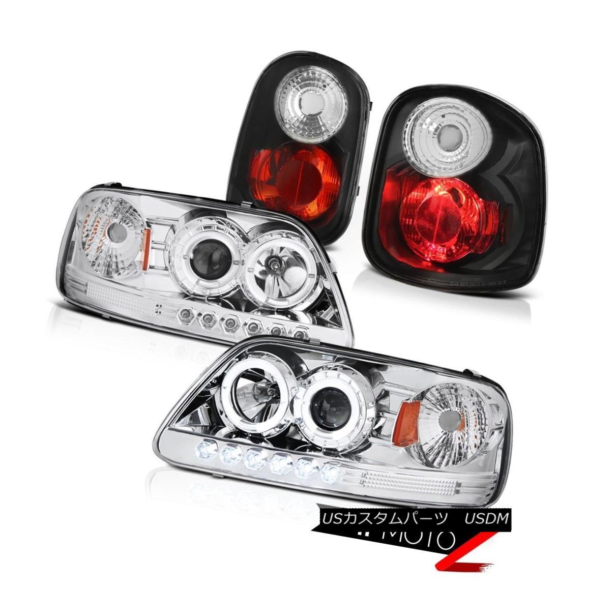 テールライト Chrome Halo LED Headlights Rear Black Taillamps 2001-2003 F150 Flareside 4.2L クロームハローLEDヘッドライトリアブラックタイランプ2001-2003 F150フラレイド4.2L