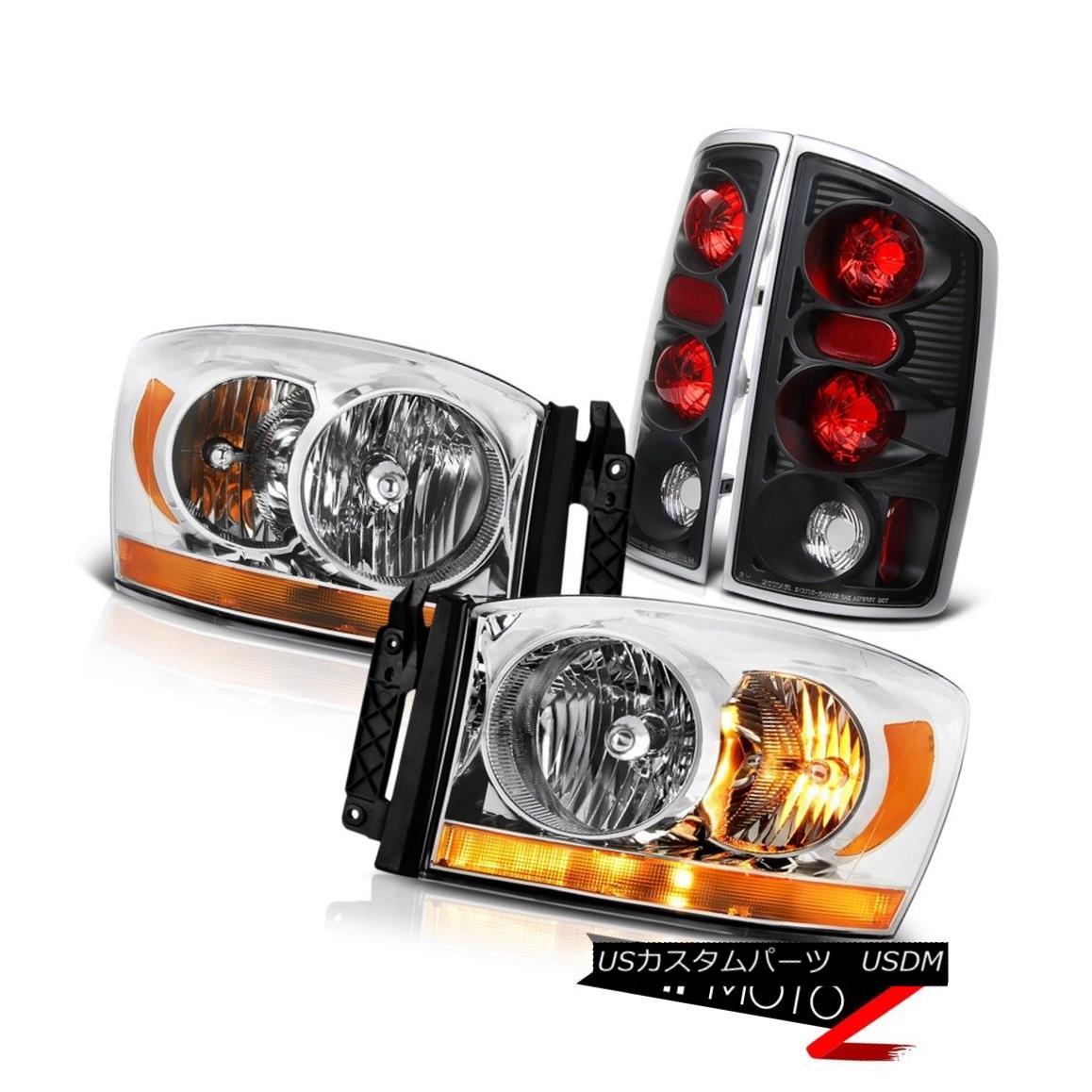 テールライト 2006 Ram 5.9L Clear Chrome Headlamps Raven Black Taillights Altezza Replacement 2006ラム5.9LクリアクロームヘッドランプレイブンブラックテイルライトAltezzaの交換