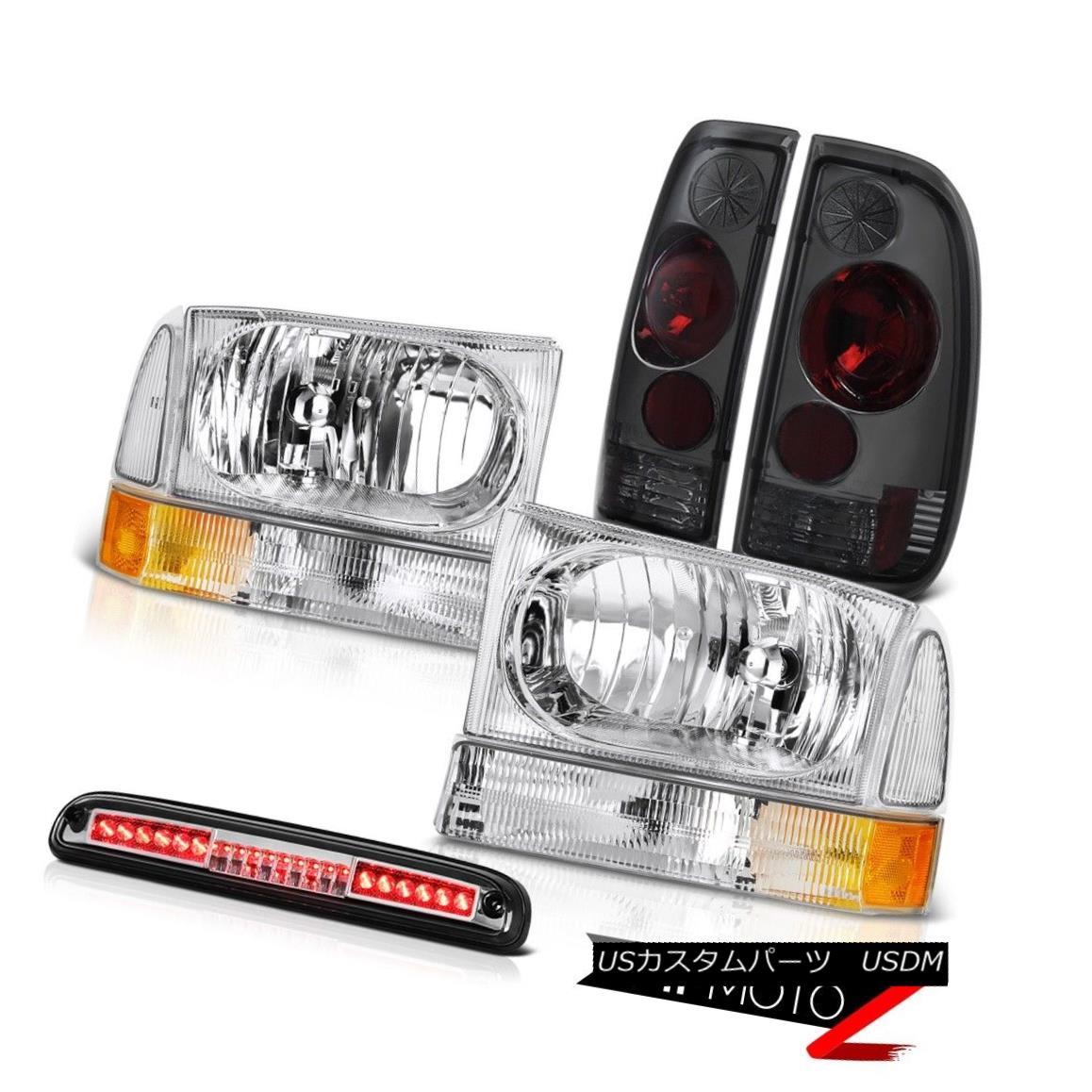テールライト Left Right Headlights Smoke Tail Lamps Chrome 3rd Brake LED 1999-2004 F350 6.8L 左右ヘッドライトスモークテールランプクローム第3ブレーキLED 1999-2004 F350 6.8L